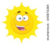 happy yellow sun cartoon emoji... | Shutterstock . vector #640876384