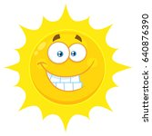 funny yellow sun cartoon emoji... | Shutterstock . vector #640876390