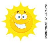 funny yellow sun cartoon emoji... | Shutterstock . vector #640876390