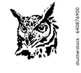 owl head tattoo black and white | Shutterstock .eps vector #640876900