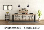 dining room in industrial style ... | Shutterstock . vector #640881310