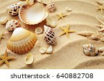 summer background. seashells... | Shutterstock . vector #640882708