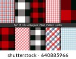set of 10 lumberjack plaid... | Shutterstock .eps vector #640885966