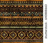 golden seamless print. ethnic... | Shutterstock .eps vector #640888663