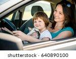 mother and child holding kitten ... | Shutterstock . vector #640890100