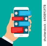 hand holding smartphone. man... | Shutterstock .eps vector #640891978