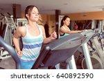 attractive girl doing  exercise ... | Shutterstock . vector #640892590