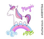 magic cute unicorn with stars.... | Shutterstock .eps vector #640895566