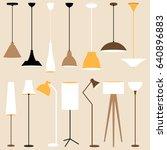 vector set of lamps. floor and... | Shutterstock .eps vector #640896883