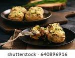baked mushroom caps stuffed...   Shutterstock . vector #640896916