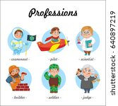 professions. set of profession... | Shutterstock .eps vector #640897219