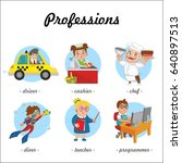 professions. set of profession... | Shutterstock .eps vector #640897513