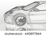 3d sport car vehicle blueprint... | Shutterstock . vector #640897864