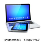 laptop and tablet pc computer... | Shutterstock . vector #640897969