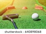 mini golf ball on artificial... | Shutterstock . vector #640898068