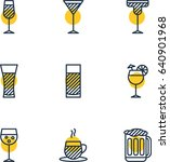 Vector Illustration Of 9 Drinks Icons. Editable Pack Of Aqua, Martini, Lemonade And Other Elements. | Shutterstock vector #640901968