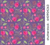 watercolor floral seamless... | Shutterstock . vector #640904263