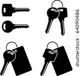 set of keys. stencil. first... | Shutterstock .eps vector #64090486