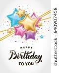 star gold balloon bouquet... | Shutterstock .eps vector #640907458