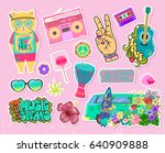 cool pop art fashion patches... | Shutterstock .eps vector #640909888