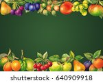 watercolor fruits blackboard.... | Shutterstock . vector #640909918