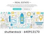 modern line flat design real... | Shutterstock . vector #640913170
