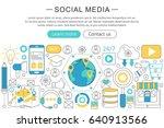 modern line flat design social ... | Shutterstock . vector #640913566