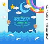 paper art style summer...   Shutterstock .eps vector #640918798