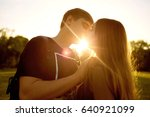 kiss of a loving couple at...   Shutterstock . vector #640921099