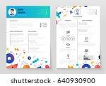 personal resume   vector... | Shutterstock .eps vector #640930900