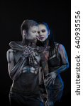 bodyart cyborgs  man and woman... | Shutterstock . vector #640935556