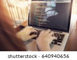 woman hands coding html and... | Shutterstock . vector #640940656