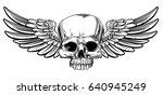 winged skull vintage woodcut...   Shutterstock .eps vector #640945249
