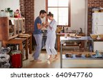 hispanic couple in pyjamas... | Shutterstock . vector #640947760