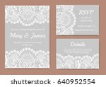 wedding cards set with white... | Shutterstock . vector #640952554