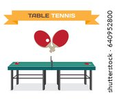 green table for tennis and... | Shutterstock .eps vector #640952800