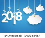 hanging numbers 2018 and white... | Shutterstock .eps vector #640955464