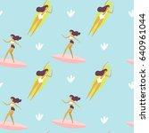 vector illustration. surfer... | Shutterstock .eps vector #640961044