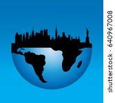 vector silhouette of new york... | Shutterstock .eps vector #640967008