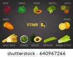 high vitamin b9 foods. healthy... | Shutterstock .eps vector #640967266