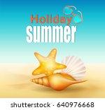hello summer card. seashells on ... | Shutterstock .eps vector #640976668