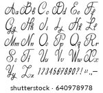 calligraphic font with numbers. ... | Shutterstock .eps vector #640978978