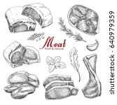 set of hand drawn meat isolated ... | Shutterstock .eps vector #640979359