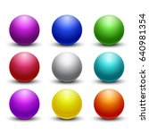 colored glossy  shiny 3d balls  ... | Shutterstock . vector #640981354