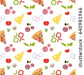 pattern with pizza and...   Shutterstock .eps vector #640981966