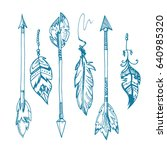 american indians feather arrows ... | Shutterstock . vector #640985320