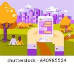human hands hold smart phone... | Shutterstock .eps vector #640985524