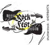 black guitar rock festival...   Shutterstock .eps vector #640986976