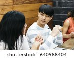 co workers talking at work   Shutterstock . vector #640988404