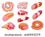 meat product watercolor drawing ... | Shutterstock .eps vector #640993579